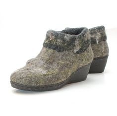 Felt wool shoes gray gold  felted platform wool by WoolenClogs, $165.00