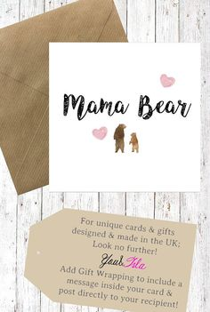 MAMA Bear Card DADA Mothers Day CARD Fathers Birthday Cards For Friends