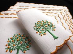ORANGE TREES Lush FRUIT Vintage Linen 8 Cocktail Napkins Madeira Hand Embroidery