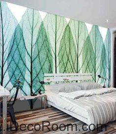 Transparant Tree Leaves Watercolor Wallpaper Wall Decals Wall Art Print Mural…