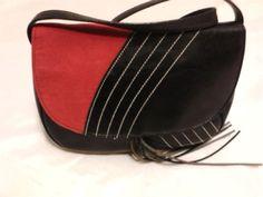 Victorias Secret Purse Handbag in Black & Red Faux Leather