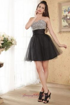 Black A-line Sweetheart Prom / Homecoming Dress Beading Mini-length Tulle - US$119.26 junior little black dress,  black cocktail dress,  beaded black dress -  little black dress -  stylish black dress