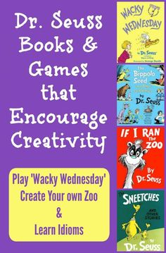 Seuss Activities: Wacky Wednesday Ideas, Zoo Game & Idioms - perfect for Read Across America Day, Dr. Seuss birthday activities or reading celebrations in March! Dr Seuss Activities, Kids Learning Activities, Fun Learning, Birthday Activities, Holiday Activities, Early Learning, Dr Seuss Game, Dr Seuss Week, Dr Suess