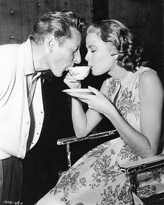 Grace Kelly and Danny Kaye sharing tea during the shooting of Rear Window