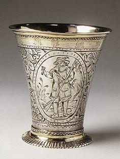Beaker, maker Johan Leffler, Sweden, silver, parcel gilt, circa 1766