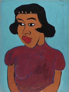 Woman in maroon blouse by William H Johnson