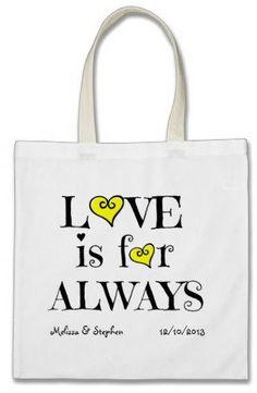 #Zazzle                   #love                     #Wedding #Gift #Bags, #LOVE #ALWAYS #yellow #heart  Wedding Gift Bags, LOVE is for ALWAYS yellow heart                            http://www.seapai.com/product.aspx?PID=1148746