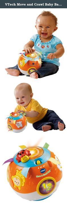 VTech Move and Crawl Baby Ball, Orange (Frustration Free Packaging). Motorized, self-rolling baby ball is designed for 6 months to 3 year olds; great baby gift item. Baby toy has 3 light-up shape buttons that teach infants numbers and insects. 3 animal buttons teach babies animal's name and sounds; helps with baby music learning and recognition. Sensory ball has soft satin ribbons that enhance tactile stimulation. Spinning ladybug attracts baby attentions for training visual awareness;...