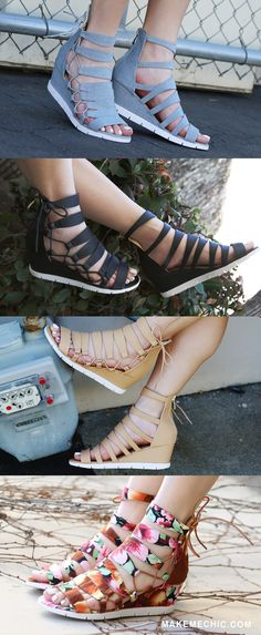 4a797f43e4f1 Add an adorable addition to your wardrobe with the Denim Side Lace Up Wedge  Sandals!