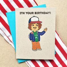 Stranger Things Birthday Card A2 Handmade Card TV by PAPERMAIN