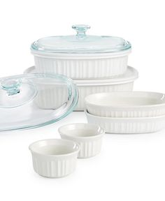 #Corningware French White 10-Pc. Bakeware Set, Only at Macy's - Classic fluted stoneware dishes in a range of sizes move from prepping in the kitchen to serving on the table with effortless ease. The larger bakers include plastic & glass lids that let you take meals on the go or store them in the fridge or freezer.