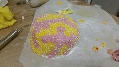Pink and yellow lemon sponge cake.