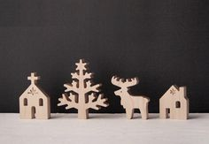 Revel in the season with this adorable wooden village. #etsy