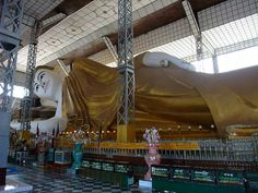 The Shwethalyaung Buddha is a reclining Buddha in the west side of Bago , Burma . The Buddha, which has a length of 55 m (180 ft) and a height of 16 m (52 ft), is the second largest Buddha in the world, after the 74 m reclining Buddha in Dawei (Tavoy). The Buddha is believed to have been built in 994, during the reign of Mon King Migadepa. It was lost in 1757 when Pegu was pillaged. During British colonial rule, in 1880, the Shwethalyaung Buddha was rediscovered under a cover of jungle…