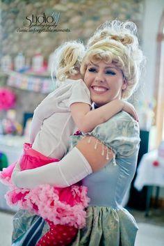 Cinderella gives Cami a hug ♥  www.PremierPrincessParties.com