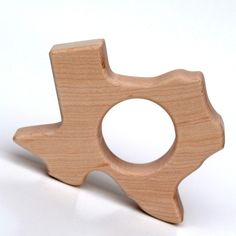 """Because our child needs to know where half of his """"roots"""" are planted - Wood Teether Texas State wooden toy natural by littlesaplingtoys, $12.00"""