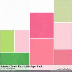 Botanical Colors Pink Solids Paper Pack cardstocks in a pink and green color palette #designerdigitals