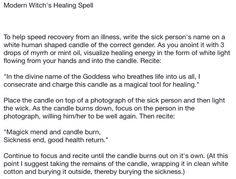 Modern witched healing spell
