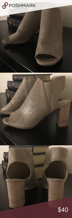 Peep Toe Booties - MUST SEE Trending block heel, 3inches. Perforated Peep Toe Booties are great for any season. Tan colored. Upper Leather. Italian shoe.  Like NEW. Worn once. They fit true to size. (Originally $80, Brand: Vaneli) Shoes Ankle Boots & Booties