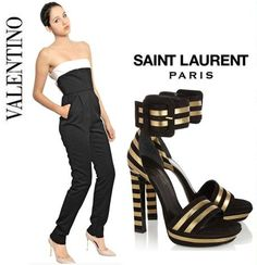 Perfect combo - fab black and white Valentino jumpsuit at a snip £730 with Saint Laurent Amazing black and gold sandals!