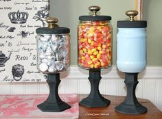 Use condiment jars that would normally go in the trash, old cabinet knobs, and candlesticks from Dollar Tree to make these useful Apothecary jars for Fall.  All…