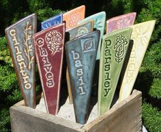 Herb Garden Markers / Plant Stakes - A Set of 3 ceramic garden markers. $21.00, via Etsy.