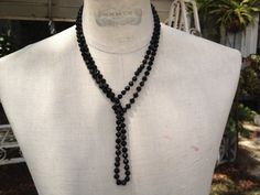 Victorian jet glass long Bead Necklace by thejunkdiva on Etsy, $28.00