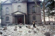 During the oldest church in NY City, St. Paul's Chapel of Trinity Church, and less than 100 yards away from the WTC site survived, without even a broken window, while the steel buildings around it crumbled and melted. 911 Never Forget, Lest We Forget, Metal Shop Building, Broken Window, Steel Buildings, September 11, World Trade Center, World History, American History