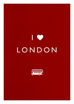 LONDON print art poster LOVE bus illustration typography heart. via Etsy.