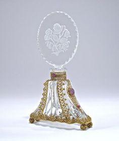 1920s Czechoslovakian Perfume Bottle, Clear Crystal, In