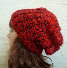Hand Knit Hat Slouch Beanie Hat Red Black Mens by Clickclackknits, £18.00