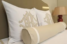 Queen blanket cover and euro shams in white dakota pique with sand linen trim.