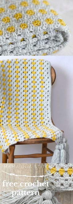 Yellow Brick Road Blanket via @MamaInAStitch Such a beautiful and easy blanket worked in two colors. Modern and simple - free pattern available. #crafts #diy