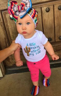 My BRM has a cactus bow and she was adorable Cute Baby Girl, Cute Babies, Baby Boy, Baby Girl Onsies, Onesies, Baby Girls, Baby Girl Fashion, Toddler Fashion, Kids Fashion