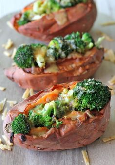 Broccoli Cheese Stuffed Potatoes! These are a fun party food that everyone would enjoy with a nice Fourth of July cookout.