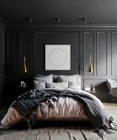 Inspiration for stylish black bedroom decor schemes All black bedrooms, monochrome and wood decor, red and black bedrooms, black bedroom furniture and bed sets - Black Bedroom Decor, Black Bedroom Design, Black Bedroom Sets, Silver Bedroom, Black Bedroom Furniture, Home Decor Bedroom, Modern Bedroom, Bedroom Wall, Black Bedrooms
