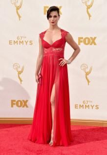 morena baccarin a line cap sleeves long red chiffon lace celebrity dress