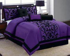 7 Pc Purple Black Luxury Flocking Comforter Set Queen Size New