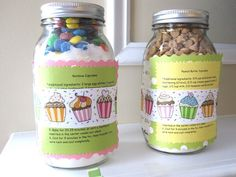 Baby shower game prizes.  Cupcakes in a jar.