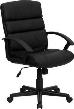 MidBack Black Leather Swivel Task Chair *** Click image for more details.Note:It is affiliate link to Amazon.