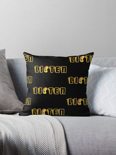 """""""LISTEN"""" Throw Pillow by Jovelle17   Redbubble Transparent Stickers, Glossier Stickers, Art Boards, Ears, Communication, Finding Yourself, Classic T Shirts, Smooth, Throw Pillows"""