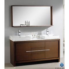 "Fresca Allier 60"" Modern Double Sink Bathroom Vanity Set with Mirror & Reviews 
