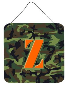 Letter Z Initial Monogram - Camo Green Wall or Door Hanging Prints