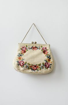 vintage 1950s cream floral needlepoint purse | vintage handbags and purses from Adored Vintage