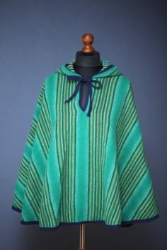 Vintage green striped poncho with hood / One size by SoulTrail