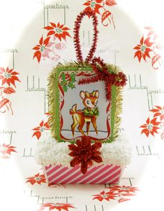 Hey, I found this really awesome Etsy listing at https://www.etsy.com/listing/171546761/vintage-christmas-card-reindeer-ornament