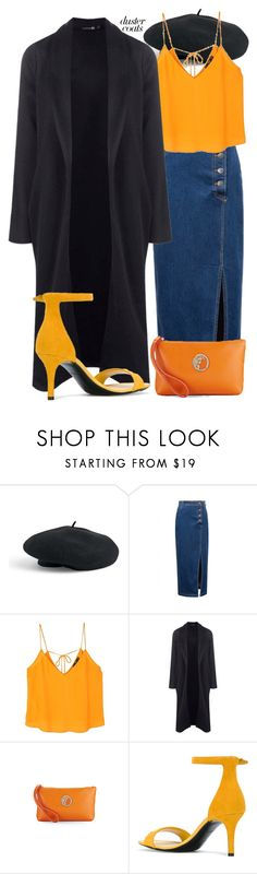 """""""Orange? Well, Yeah"""" by busrashin ❤ liked on Polyvore featuring Venus, WithChic, MANGO, Boohoo, Versace, Emilio Pucci and DusterCoats"""