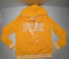 Victoria Secret PINK Hoodie  Medium Yellow #VictoriasSecret #Halfzip