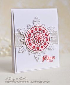 My Joyful Moments—     Stamps: Winter Wishes and Fairisle Background -WPlus9, Sentiment-Snowflurries- Papertrey Ink     Dies: Snowflake- Spellbinders