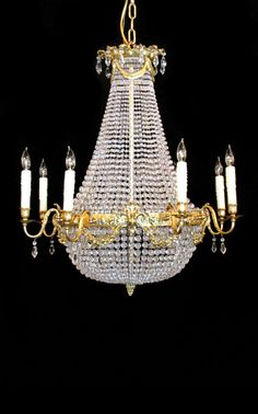 French Empire cast bronze and crystal chandelier. Late 1800u0027s to early 1900u0027s. & Tiered Crystal Four Light Fixture by Appleton Antique Lighting | Art ...